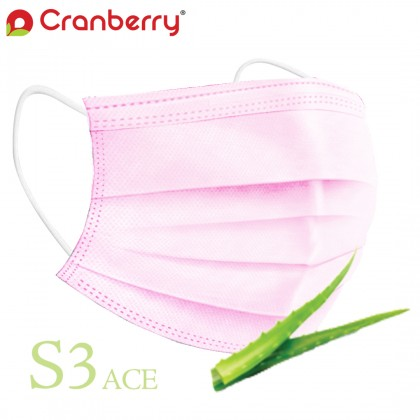 Cranberry S3 / S3 ACE 3-ply ASTM Level 2 Earloop Face Masks 50's