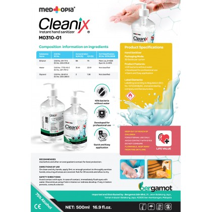 Medtopia Cleanix Instant Hand Sanitizer (Gel Type) 500ml